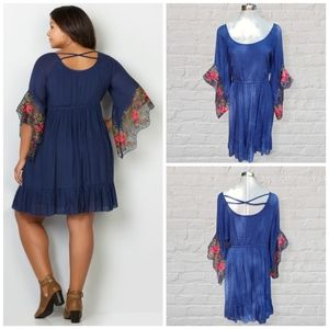 Avenue boho embroidered babydoll dress size 22